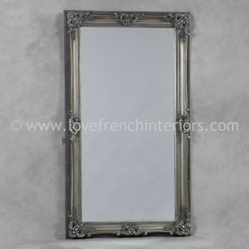 Antique Silver Large French Mirror